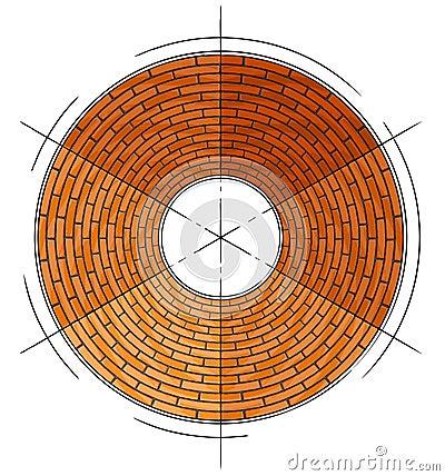 Abstract architectural brick circle symbol