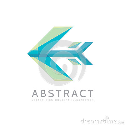 Abstract arrow - vector logo template concept illustration in flat style. Stylized airplane creative sign. Colorful design element Vector Illustration
