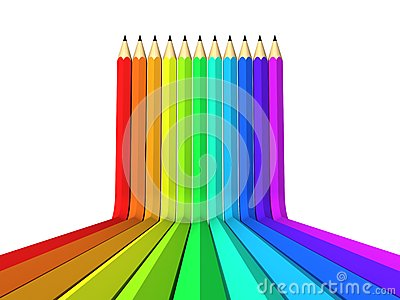 Abstract art background colour pencil as rainbow
