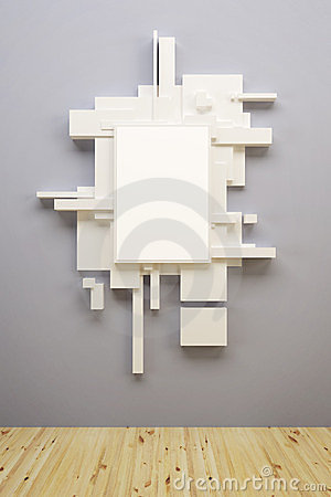 Abstract art composition in museum
