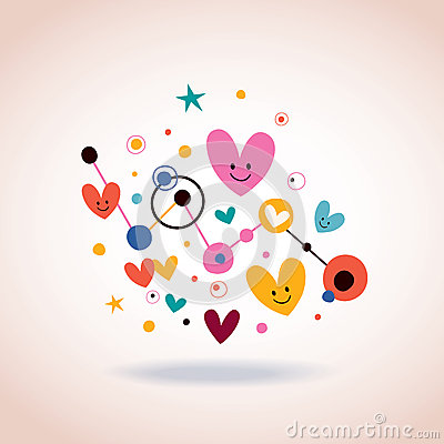 Abstract art illustration with cute cartoon hearts and for Cute abstract art