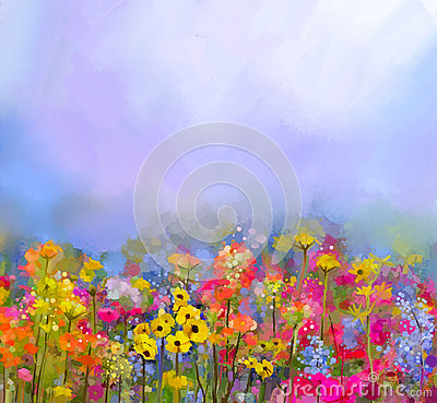 Abstract Art Oil Painting Of Summer Spring Flower Meadow
