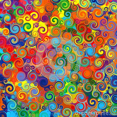 Abstract art rainbow circles swirl colorful pattern music grunge background Cartoon Illustration