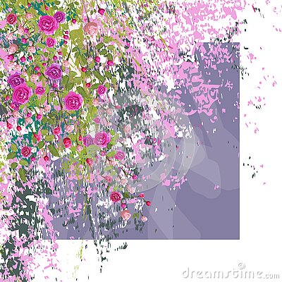 Sprigs of pink roses with leaves on textured background. White frame. Vector Illustration