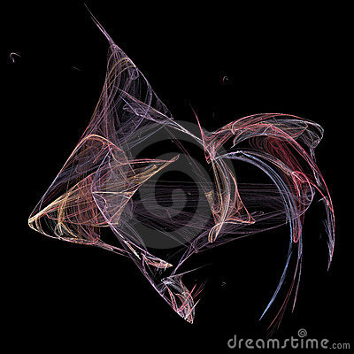 Abstract artificial computer generated iterative flame fractal art image of a fish