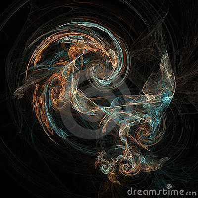 Abstract artificial computer generated iterative flame fractal art image of a vortex