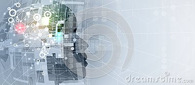 Artificial intelligence. Technology gear system web background. Virtual conc Vector Illustration