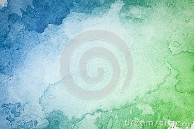 Abstract artistic green blue watercolor background Stock Photo