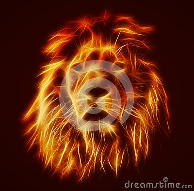 Free Abstract, Artistic Lion Portrait. Fire Flames Fur Stock Images - 49021614