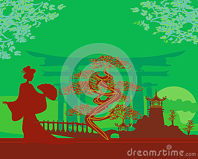Abstract Asian Landscape and geisha