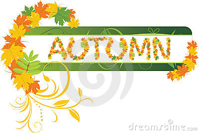 Abstract autumn banner with maple leaves