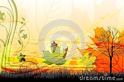 Abstract autumn card