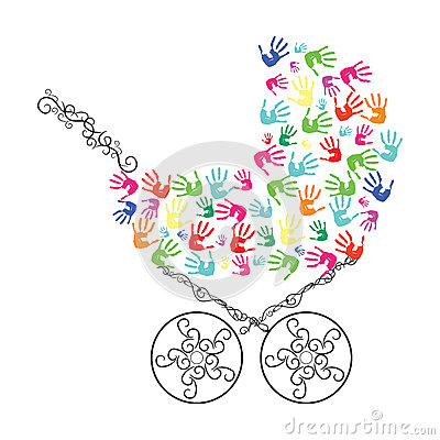 Abstract baby carriage from hands Vector Illustration