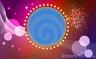 Abstract  background  with banner and stars.