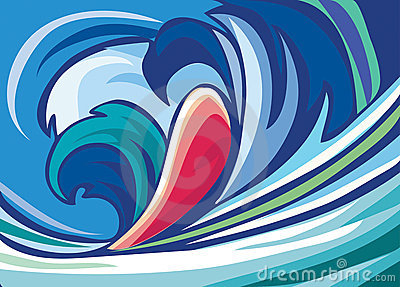 Abstract background of blue waves