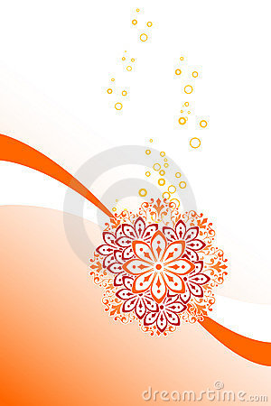 Abstract background with circles and flowers, vector illustratio