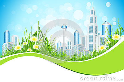 Abstract Background with City Line Flowers and Grass