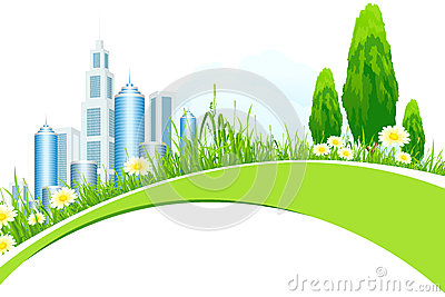 Abstract Background with City Line and Trees