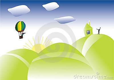 Abstract background with clouds andballoon