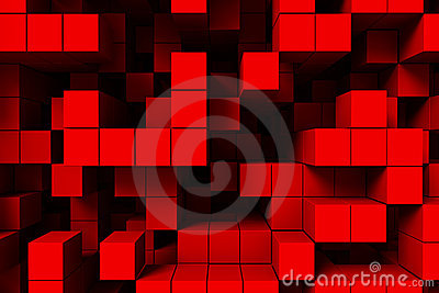 Abstract 3d red cubes