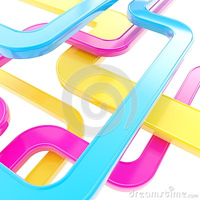 Abstract background of curved glossy lines