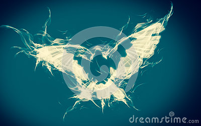 Abstract background of dove on fire flying in blue and white.  Spiritual art of Christianity. Healing symbol.