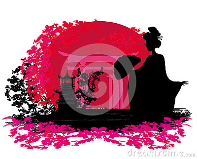 Geisha silhouette at sunset