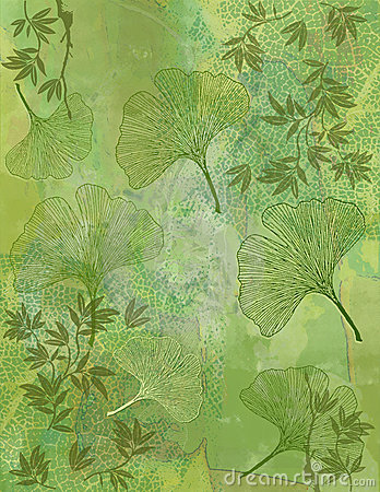 Abstract Background with Ginkgo Leaves in Green