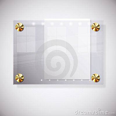 Abstract background with glass information board.