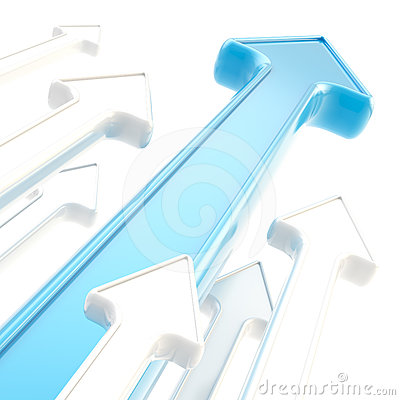Abstract background of glossy arrows on white