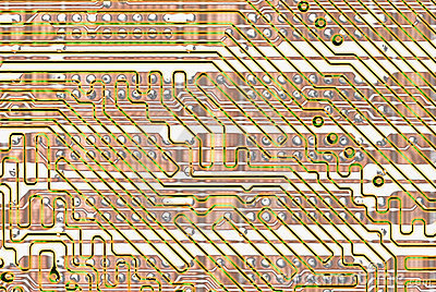 Abstract background - golden circuit board