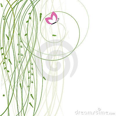 Abstract background with grass and butterfly