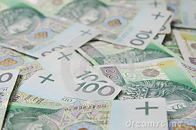 Abstract background made of polish banknotes