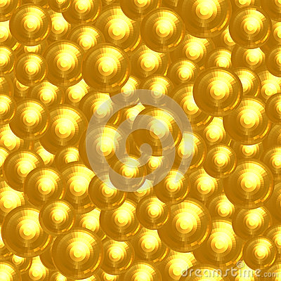 Abstract background of many golden faceted balls