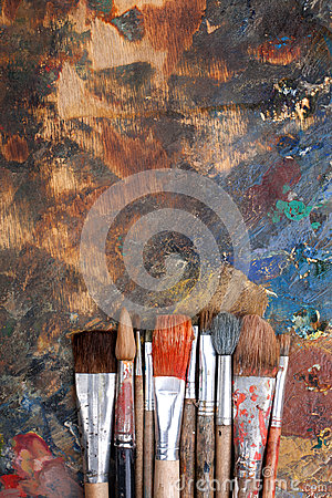 Abstract background with paint brushes