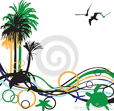 Abstract background with palm trees