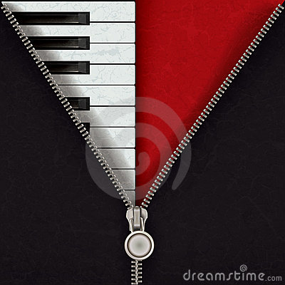 Abstract background with piano and open zipper