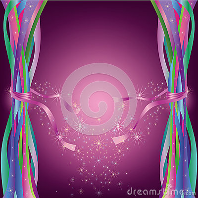 Abstract background with ribbons and stars
