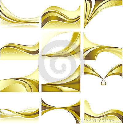 Abstract Background Set Golden Theme Blank White B