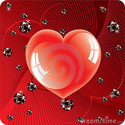 Abstract background of shiny beads and heart