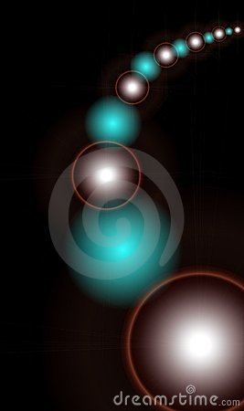 Abstract background with spheres on black