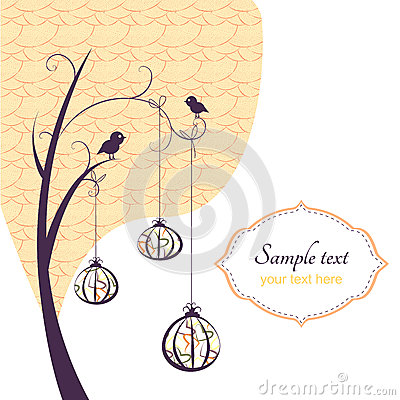 Abstract background, tree with birds