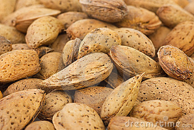 Abstract background: unshelled almonds