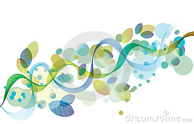 Abstract background with wave and leaves