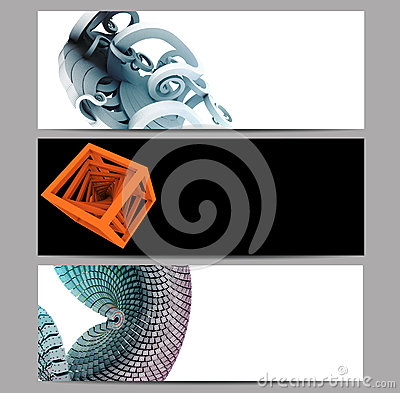 Abstract banner set embellished with 3D renders