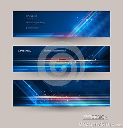 Abstract banners set with image of speed movement pattern and motion blur over dark blue color. Vector Illustration