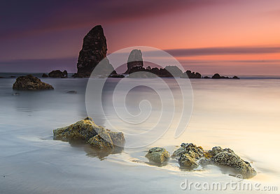 Abstract beach and sunset
