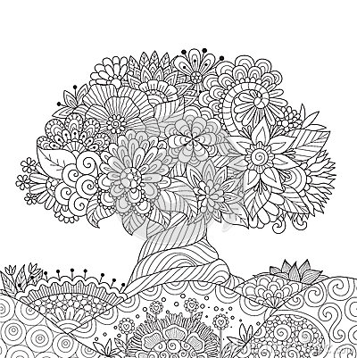 Free Abstract Beautiful Tree For Design Element And Adult Coloring Book Page. Stock Images - 90333504