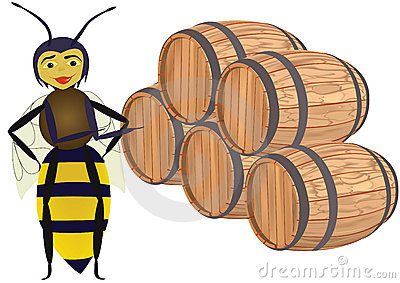 Abstract bee with wooden butts.