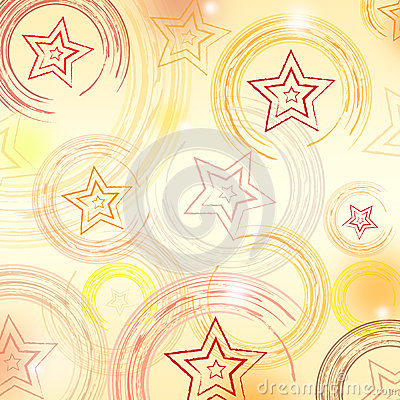 Abstract beige background with circles and stars